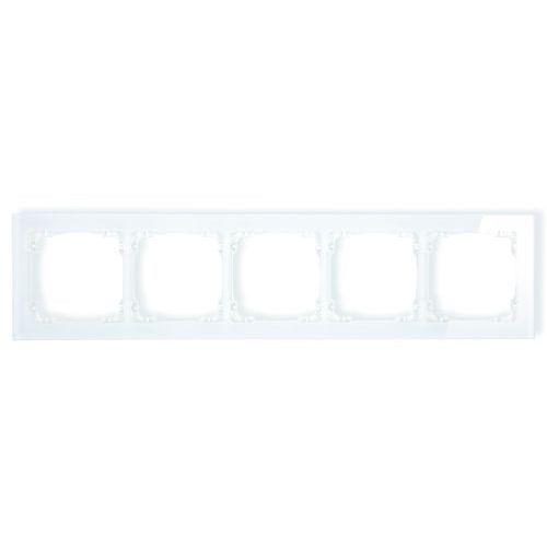 Ramka uniwersalna 5-krotna - efekt szkła (ramka: biała; spód: biały) 0-0-drs-5 marki Karlik elektrotechnik