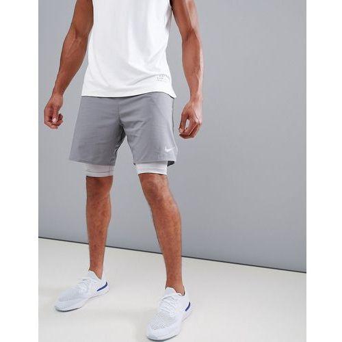 flex distance 7 inch 2-in-1 shorts in grey 892905-036 - purple marki Nike running