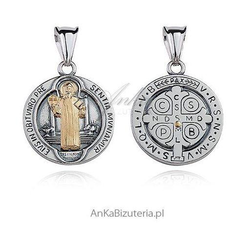Anka biżuteria Medalik srebrny oksydowany z pozłacanym wizerunkiem św. benedykta. Najniższe ceny, najlepsze promocje w sklepach, opinie.