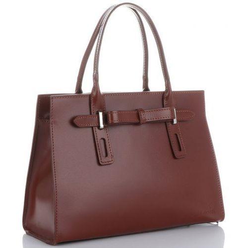 klasyczne firmowe torebki kuferki skórzane z gustowną kokardką brązowe (kolory) marki Vittoria gotti