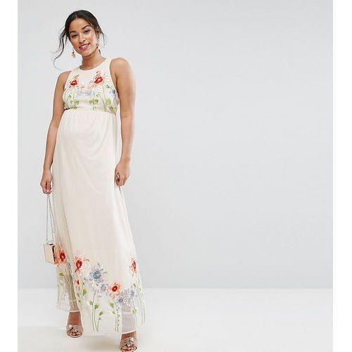 Asos maternity embroidery mesh maxi dress - pink