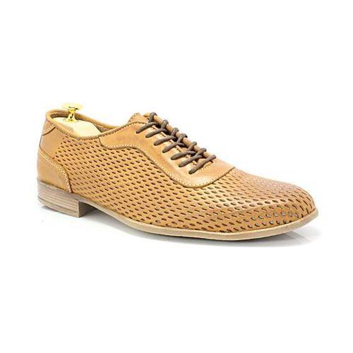 Kent 292r jasny brąz- buty męskie casual z tłoczonej skóry - brązowy