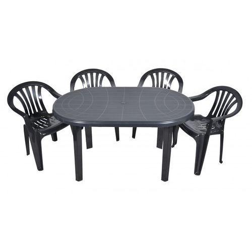Ołer Zestaw mebli ogrodowych stół + 4 krzesła grafit