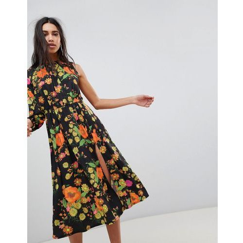 one shoulder balloon sleeve midi dress in floral print - multi marki Asos