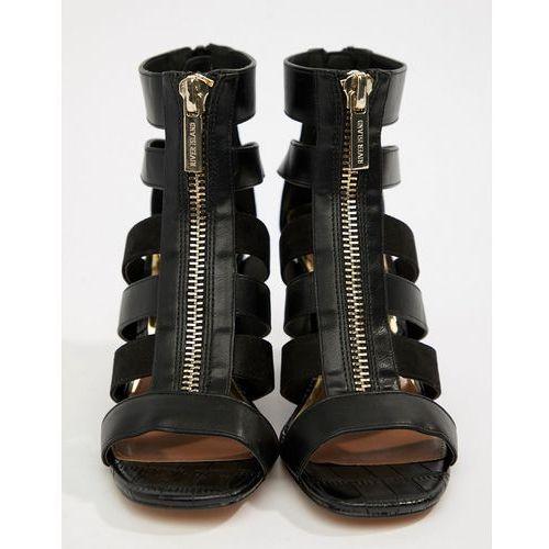River island zip front cage heels in black - black