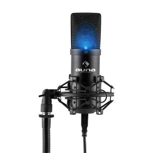 auna MIC-900B-LED USB Mikrofon pojemnościowy czarny studyjny LED