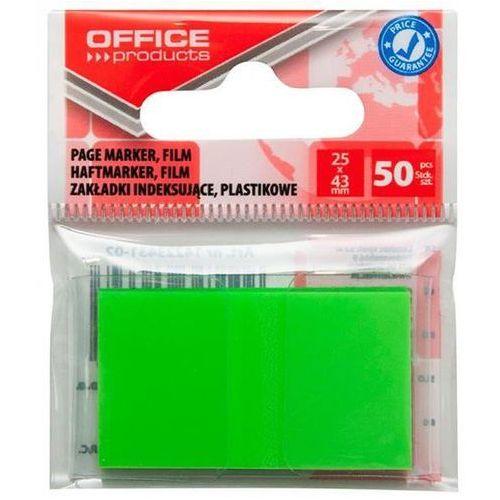 Zakładki indeksujące OFFICE PRODUCTS, PP, 25x43mm, 1x50 kart., zawieszka, zielone, 14223431-02