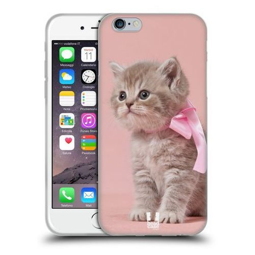 Etui silikonowe na telefon - Koty Kotek z Różową Kokardką, kolor różowy