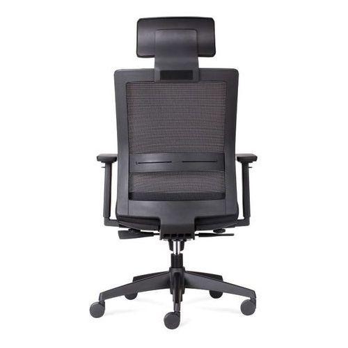 Maduu studio Fotel biurowy press czarny/czarny z zagł ówkiem