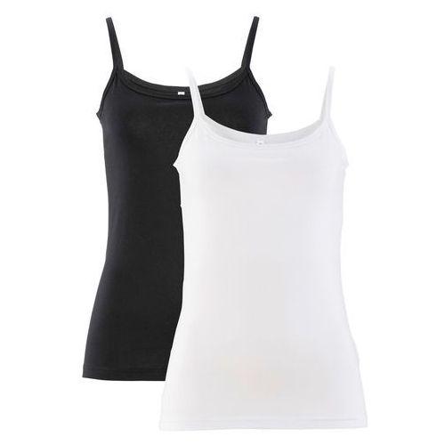 Top (2 szt.) bonprix biały + czarny, w 7 rozmiarach
