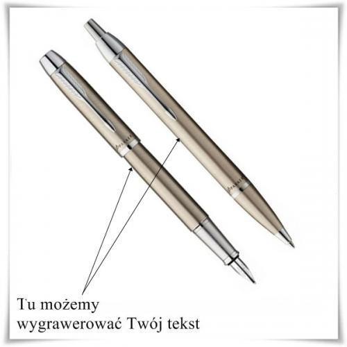 Zestaw długopis i pióro Parker IM Brushed Metal CT + opcja graweru