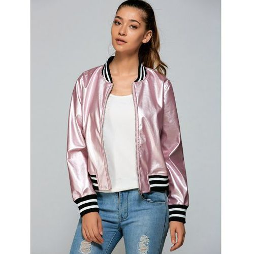 Zippered striped bomber jacket, Rosewholesale