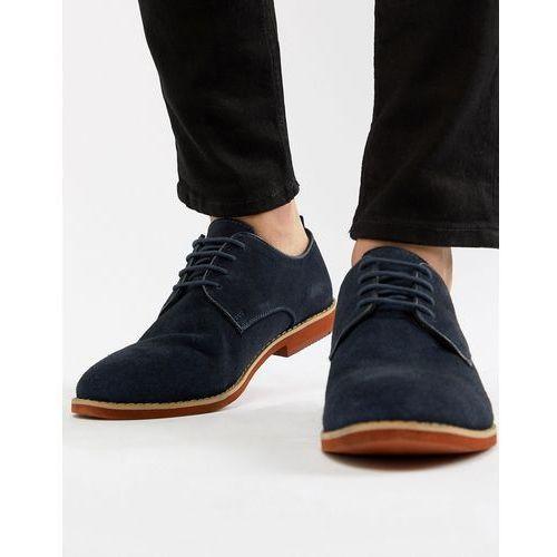 Silver street duke derby shoes in navy suede - blue