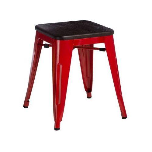 D2.design Stołek, taboret paris wood 45 cm sosna szczotkowana (czerwony) d2