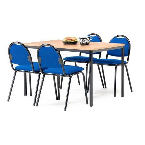Aj produkty Zestaw mebli do stołówki, stół 1200x800 mm, buk + 4 krzesła, niebieski/czarny