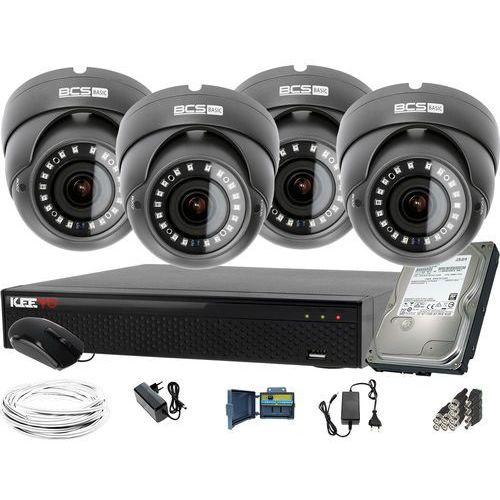 1920x1080 FullHD 4x BCS-B-DK22812 BCS Basic zestaw do monitoringu Dysk 1TB Akcesoria