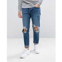 River Island Slim Fit Tapered Jeans With Rips In Dark Wash - Blue, jeans