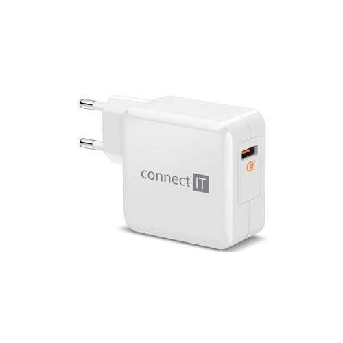 Ładowarka do sieci incarz, 1x usb (3a), s funkcí rychlonabíjení qc 3.0 (cwc-2010-wh) biała marki Connect it