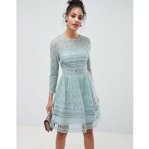 ASOS DESIGN Premium Lace Mini Skater Dress - Green, kolor zielony