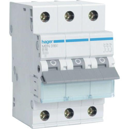 Hager MCB Wyłącznik nadprądowy Icn=6000A 3P B 20A MBN320E