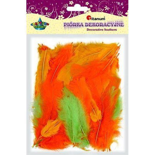 Kolorowe pióra dekoracyjne, 8g pomarań, CRAFT-FUN - pomarańczowe+zielone