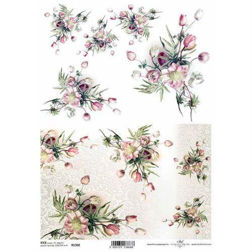 Papier ryżowy ozdobny 297x210 mm - różowe kwiaty marki Itdcollection