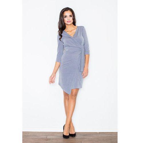 Szara elegancka sukienka z wiązaniem, Figl, 36-42