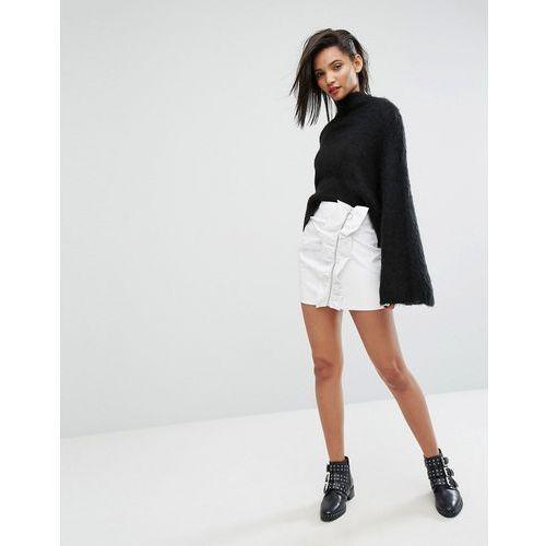 Mango Ruffle Side Vinyl Mini Skirt - White, w 3 rozmiarach
