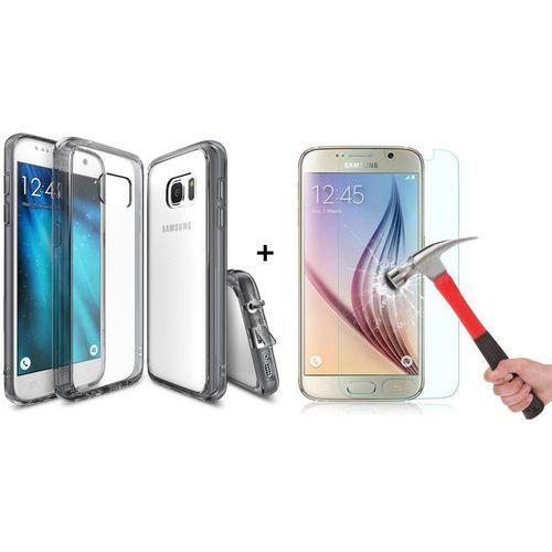Zestaw | Rearth Ringke Fusion Smoke Black + Szkło ochronne | Etui dla Samsung Galaxy S7