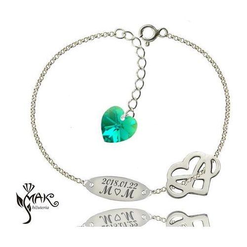 Br907 bransoletka z grawerem serce z infinity nieskończoność swarovski elements marki Mak-biżuteria