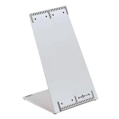 Stojak stołowy, pokryty tworzywem, kształt L, puste, na 20 tablic. Do mocowania