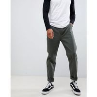 relaxed chinos in dark green wash with turn up - green marki Asos design