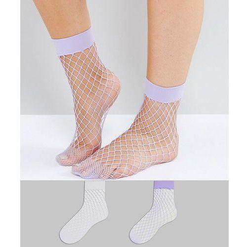 OKAZJA - 2 pack white and lilac fishnet ankle sock - white marki New look