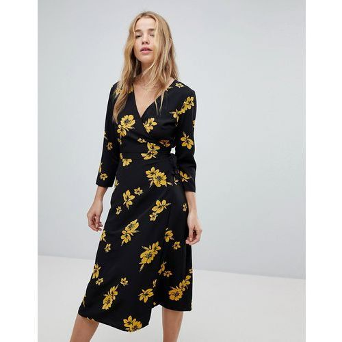 Miss selfridge floral wrap midi dress - multi