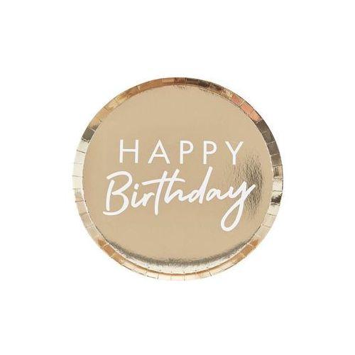 Talerzyki urodzinowe złote happy birthday - 24 cm - 8 szt. marki Ginger ray