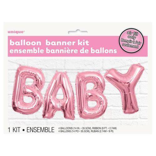 Balonowy baner baby różowy - 2,74 m - 1 kpl marki Unique