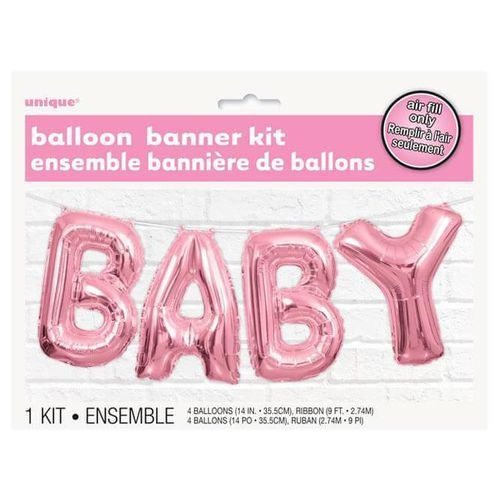 Unique Balonowy baner baby różowy - 2,74 m - 1 kpl (0011179536849)