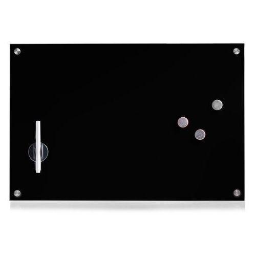 Szklana tablica magnetyczna memo, czarna + 3 magnesy, 60x40 cm, marki Zeller