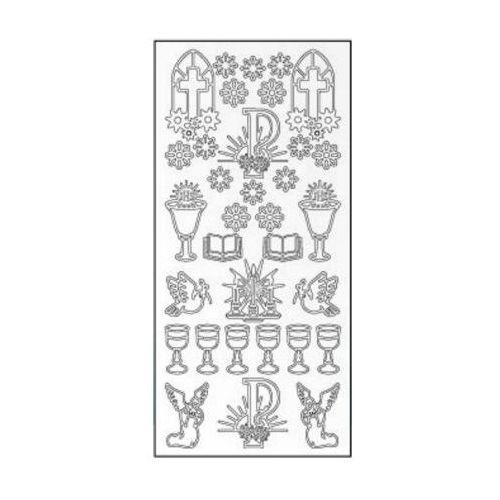Sticker złoty 01200 - motywy komunijne, kwiaty x1