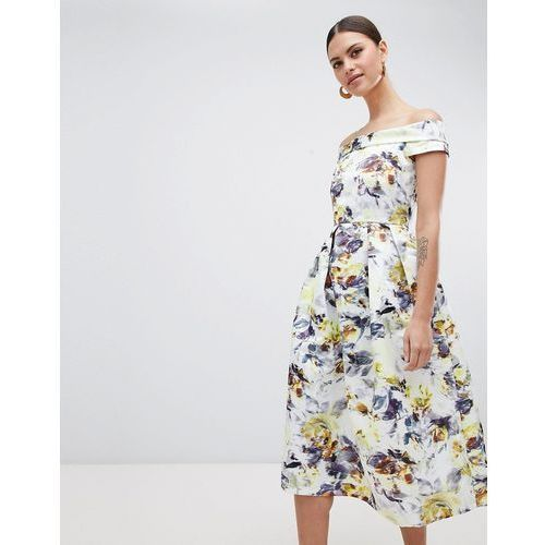 bardot floral midi dress - multi marki Closet london