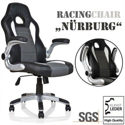 Makstor.pl Sportowy czarny fotel biurowy gabinetowy nurburg - czarny / szary / biały (40040275)