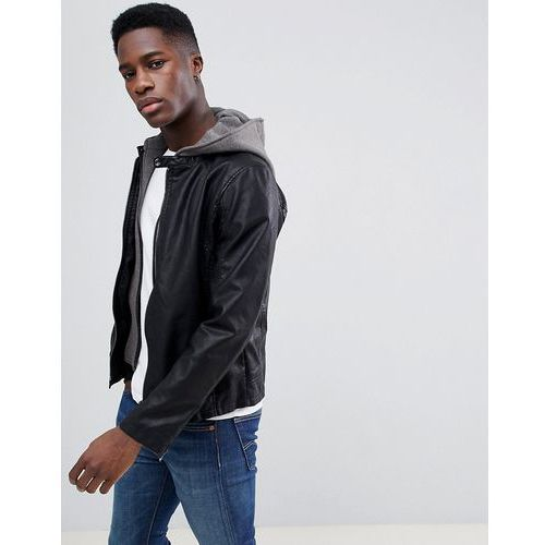 faux leather jacket with removable jersey hood - black marki Esprit