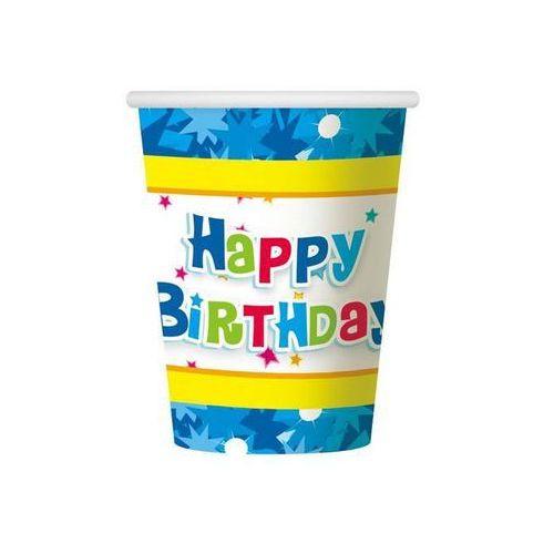 Kubeczki papierowe Happy Birthday niebieskie, #A1077^i
