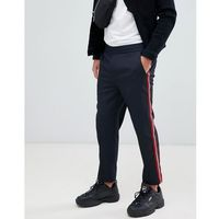 Mennace trousers in navy with side stripe - grey