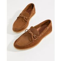 loafer boat shoes with stitch detail in tan - tan, River island