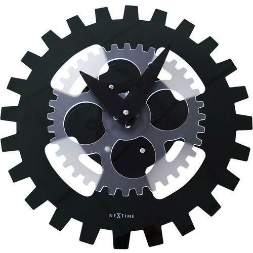 Nextime Zegar ścienny obracające zębatki moving gears 35 cm, czarny (3241 zw) (8717713021704)