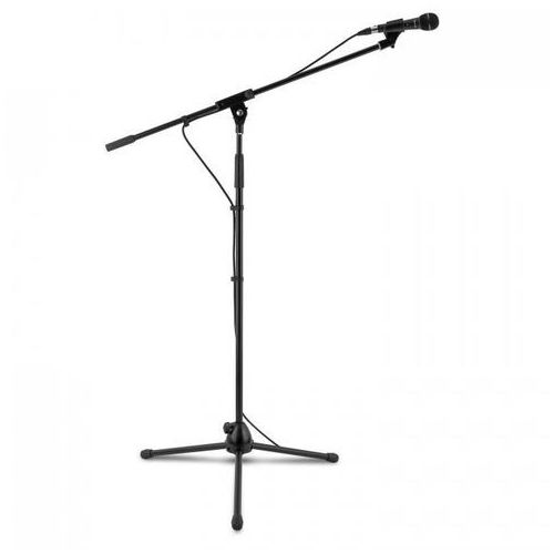 Km 01 bk zestaw mikrofonowy 4-częściowy mikrofon stojak zacisk kabel 5m czarny marki Auna