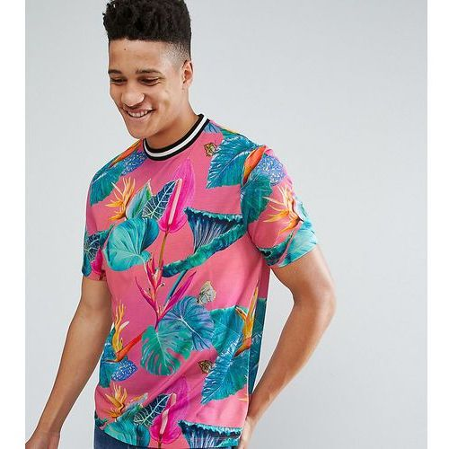 ASOS TALL Relaxed T-Shirt With All Over Floral Print And Tipped Neck Trim - Pink, kolor różowy