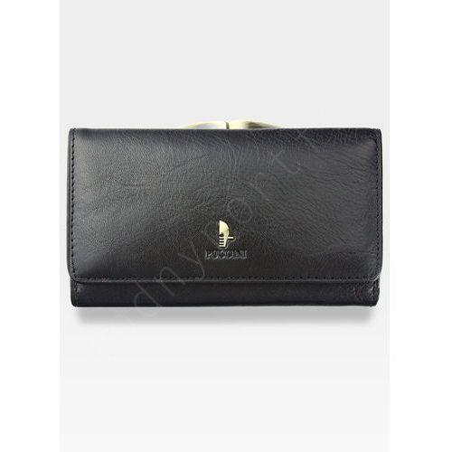 Portfel damski skórzany  czarny z biglem 1805p - czarny marki Puccini