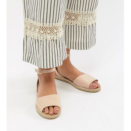 Truffle collection wide fit espadrille flat sandals - beige